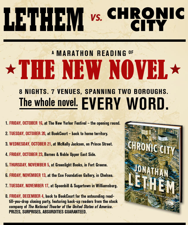 Lethem vs. Chronic City - A marathon reading of the new novel.